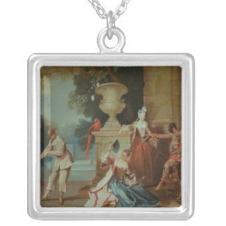Italian Comedians in a Park, c.1725 Silver Plated Necklace