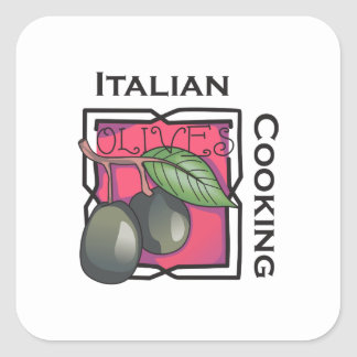 Italian Cooking Square Stickers