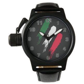 Italian Crown Protector Black Leather Wrist Watch
