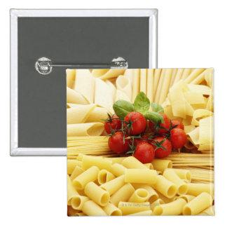 Italian cuisine. Pasta and tomatoes. 15 Cm Square Badge