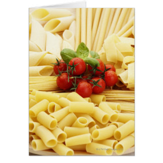 Italian cuisine. Pasta and tomatoes. Greeting Card