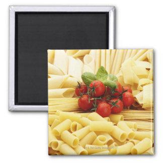 Italian cuisine. Pasta and tomatoes. Fridge Magnet