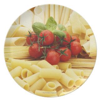 Italian cuisine. Pasta and tomatoes. Plate