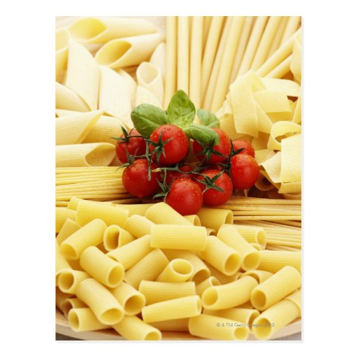 Italian cuisine. Pasta and tomatoes. Postcard