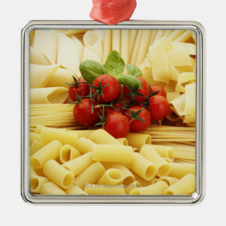 Italian cuisine. Pasta and tomatoes. Silver-Colored Square Decoration