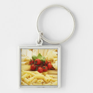 Italian cuisine. Pasta and tomatoes. Silver-Colored Square Key Ring