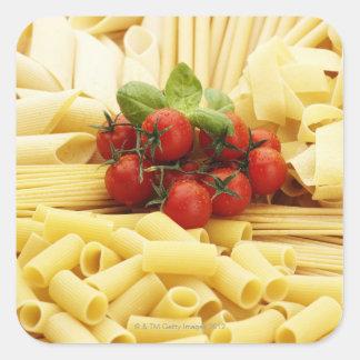 Italian cuisine. Pasta and tomatoes. Square Sticker