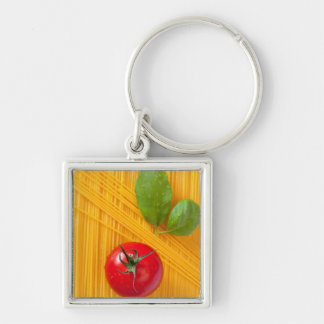 Italian Cuisine Silver-Colored Square Key Ring