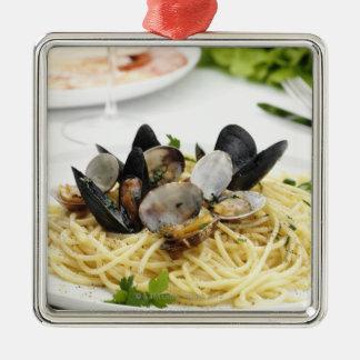 Italian cuisine. Spaghetti alle vongole. Silver-Colored Square Decoration