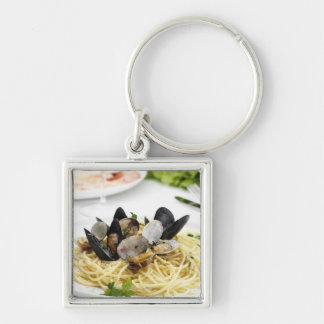 Italian cuisine. Spaghetti alle vongole. Silver-Colored Square Key Ring