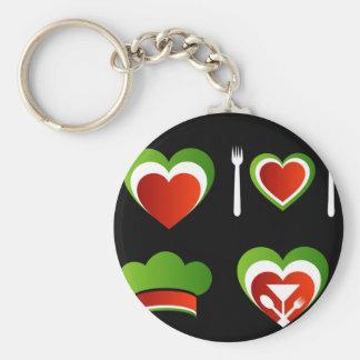 Italian cuisine symbols basic round button key ring