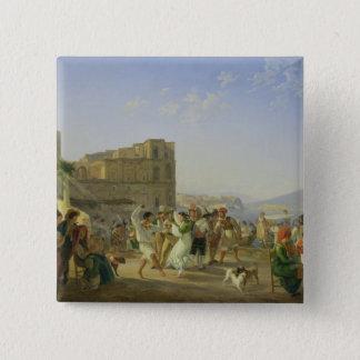 Italian Dancing, Naples, 1836 15 Cm Square Badge