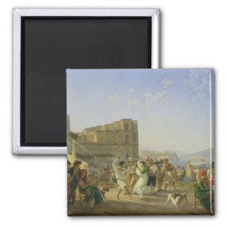 Italian Dancing, Naples, 1836 Square Magnet
