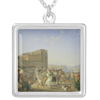 Italian Dancing, Naples, 1836 Square Pendant Necklace