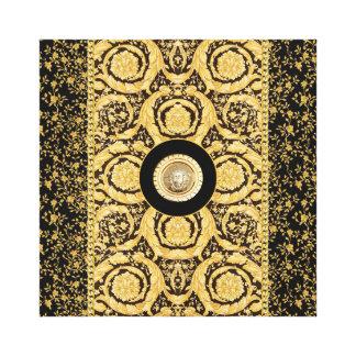 Italian design Medusa, roccoco baroque, black gold Gallery Wrap Canvas