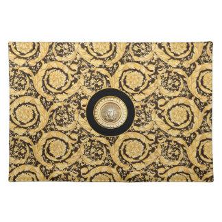 Italian design Medusa, roccoco baroque, black gold Cloth Placemat