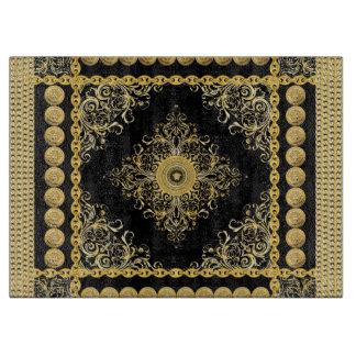 Italian design Medusa, roccoco baroque, black gold Cutting Boards