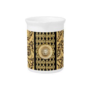 Italian design Medusa, roccoco baroque, black gold Drink Pitcher