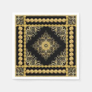 Italian design Medusa, roccoco baroque, black gold Paper Napkin
