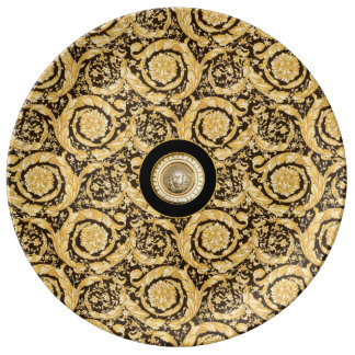 Italian design Medusa, roccoco baroque, black gold Porcelain Plate
