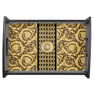 Italian design Medusa, roccoco baroque, black gold Serving Platter