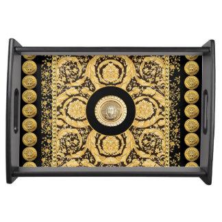 Italian design Medusa, roccoco baroque, black gold Serving Trays