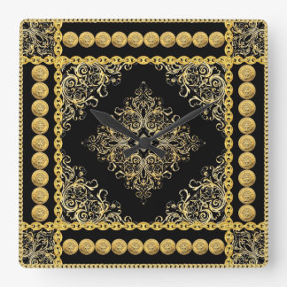 Italian design Medusa, roccoco baroque, black gold Wall Clocks