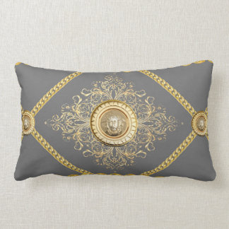 Italian design Medusa, roccoco baroque, grey gold Throw Cushion