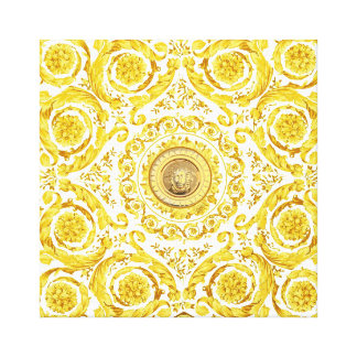 Italian design Medusa, roccoco baroque, white gold Stretched Canvas Print