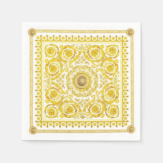 Italian design Medusa, roccoco baroque, white gold Paper Napkin