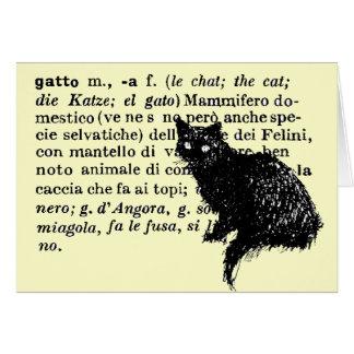 Italian Dictionary cat Card