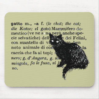 Italian Dictionary cat Mouse Pad
