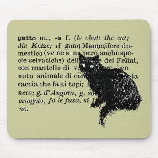 Italian Dictionary cat Mouse Pad
