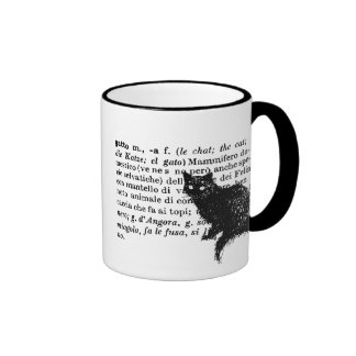 Italian Dictionary cat Ringer Mug