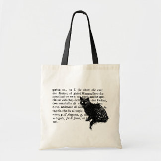 Italian Dictionary cat Tote Bag