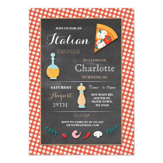 Italian Dinner Birthday Party Chalk Pizza Invite
