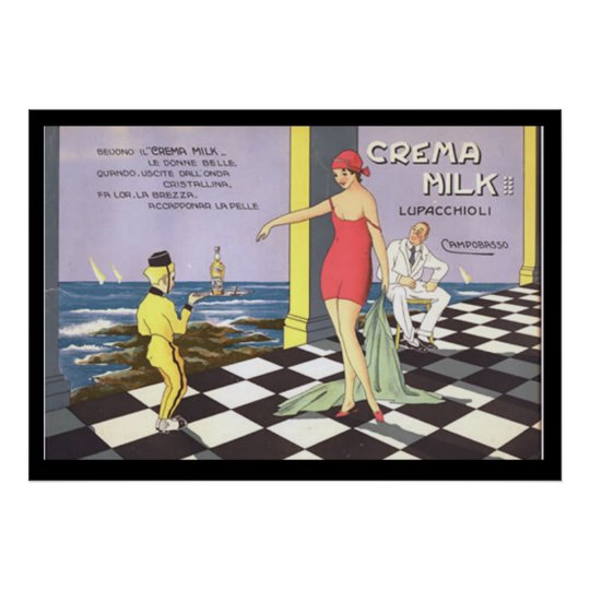 Italian Drink Crema Milk Vintage Poster