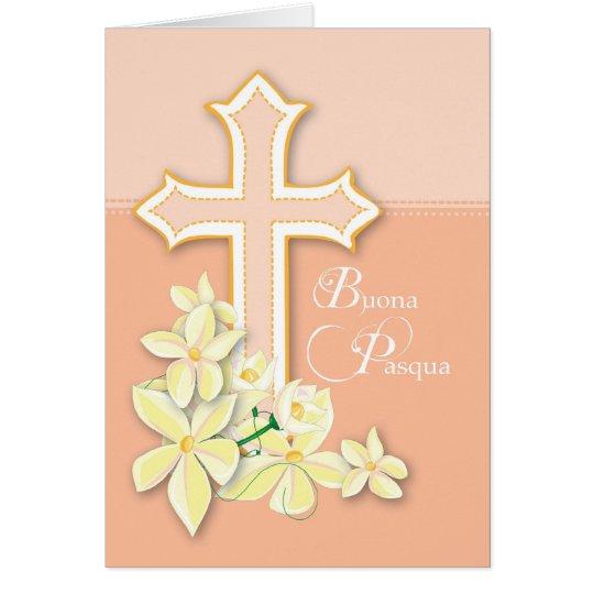 Italian Easter Card, Flowers & Cross, Buona Pasqua Card