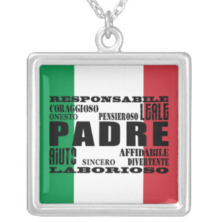 Italian Fathers : Qualities Square Pendant Necklace