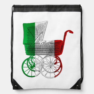 Italian Flag Baby Carriage Drawstring Backpack