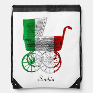 Italian Flag Baby Carriage Personalized Backpack