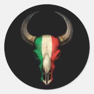 Italian Flag Bull Skull on Black Round Sticker