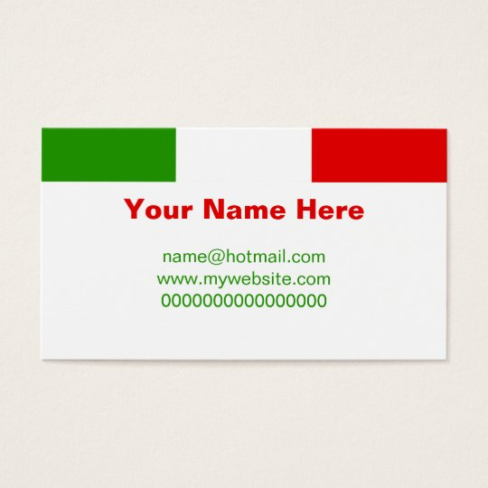 Italian Flag Business Card