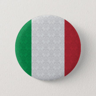 Italian Flag Damask Pattern 6 Cm Round Badge