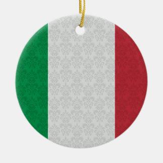 Italian Flag Damask Pattern Christmas Ornament
