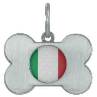 Italian Flag Damask Pattern Pet Tag