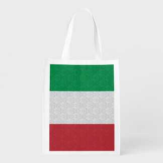 Italian Flag Damask Pattern Reusable Grocery Bag