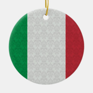 Italian Flag Damask Pattern Round Ceramic Decoration