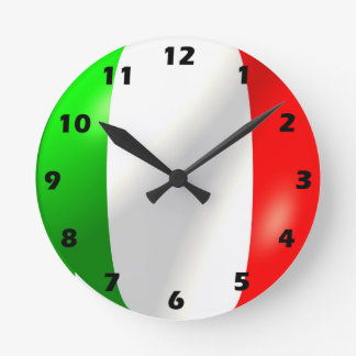 Italian Flag Design Round Clock