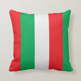 Italian flag - green, red and white stripes throw pillow